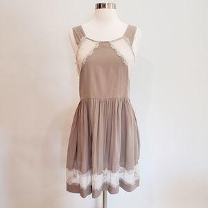Free People Lace Dress Khaki Prairie Sleeveless M